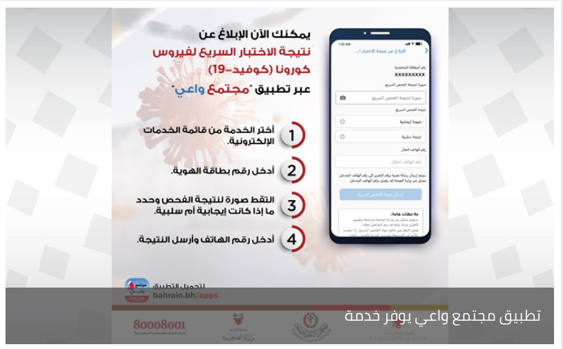 """تطبيق مجتمع واعي يوفر خدمة """"الإبلاغ عن نتيجة الاختبار السريع لكوفيد-19"""""""
