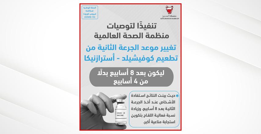 تنفيذاً لتوصيات منظمة الصحة العالمية  - رئيسة لجنة التطعيمات في وزارة الصحة بمملكة البحرين: تغيير موعد الجرعة الثانية من تطعيم كوفيشيلد - استرازنيكا ليكون 8 أسابيع بدلا عن 4 أسابيع
