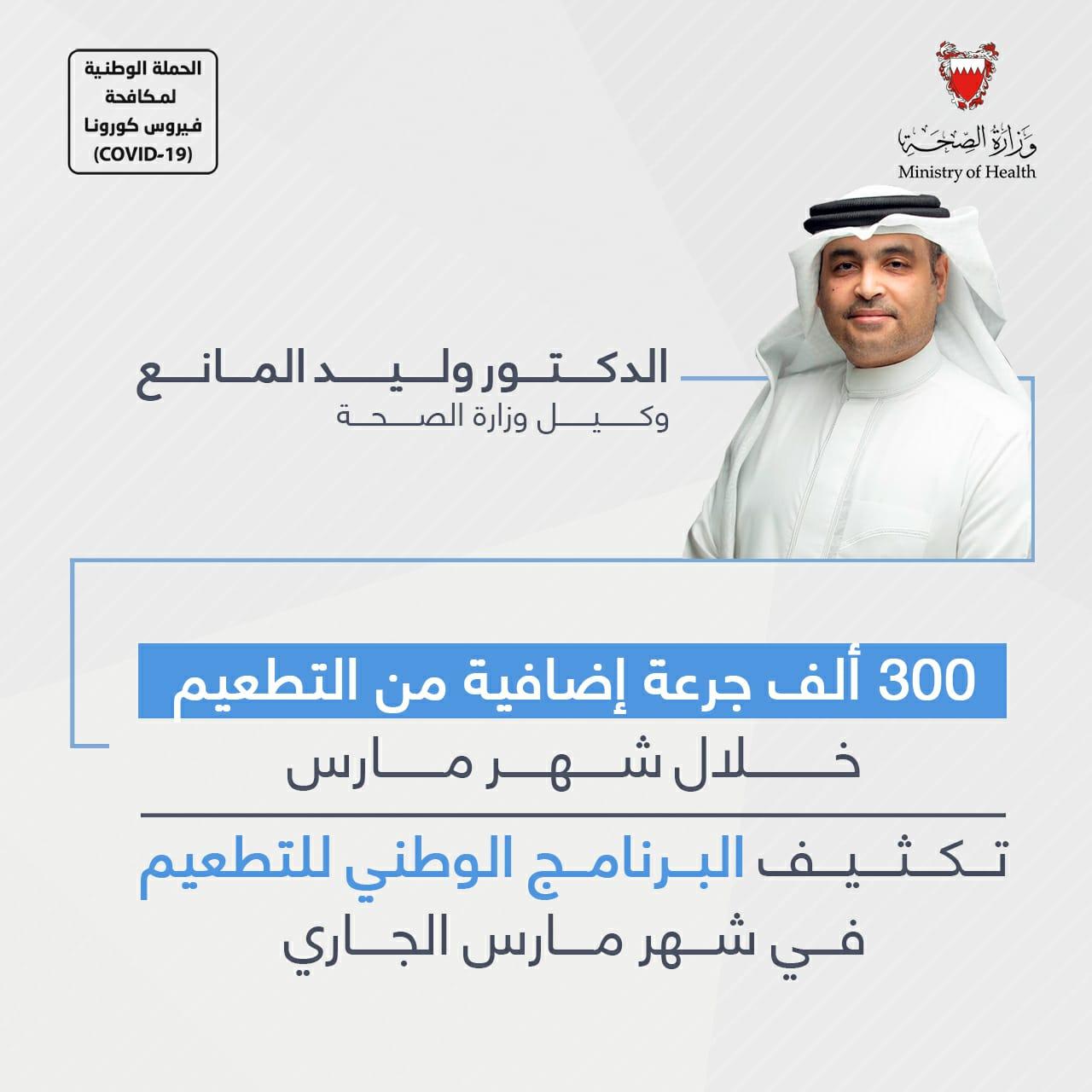 300 ألف جرعة إضافية من التطعيم خلال شهر مارس  الدكتور وليد المانع: تكثيف البرنامج الوطني للتطعيم في شهر مارس الجاري
