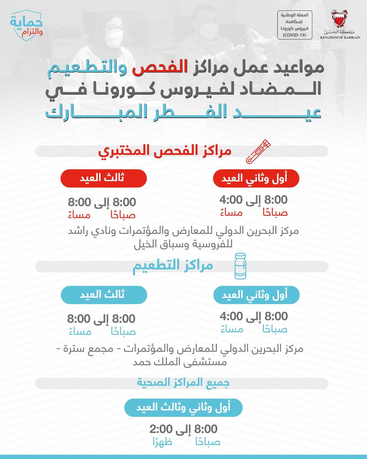 الإعلان عن مواعيد عمل مراكز الفحص والتطعيم خلال إجازة عيد الفطر السعيد