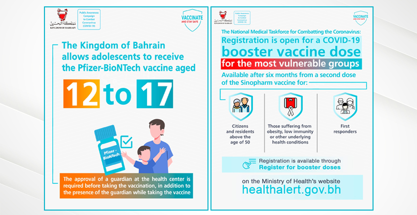 The Kingdom of Bahrain allows vaccination for adolescents aged 12 to 17, and a booster dose for those over fifty