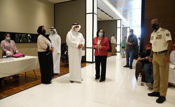 وزيرة الصحة تتفقد إجراءات الفحص السريع لجميع الموظفين المتواجدين في مقر الوزارة