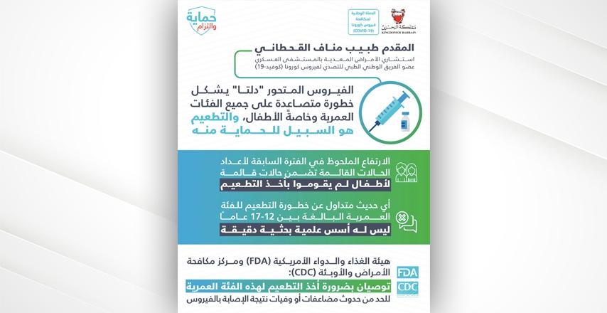 """القحطاني: الفيروس المتحور """"دلتا"""" يشكل خطورة متصاعدة على الأطفال والتطعيم هو السبيل للحماية منه"""
