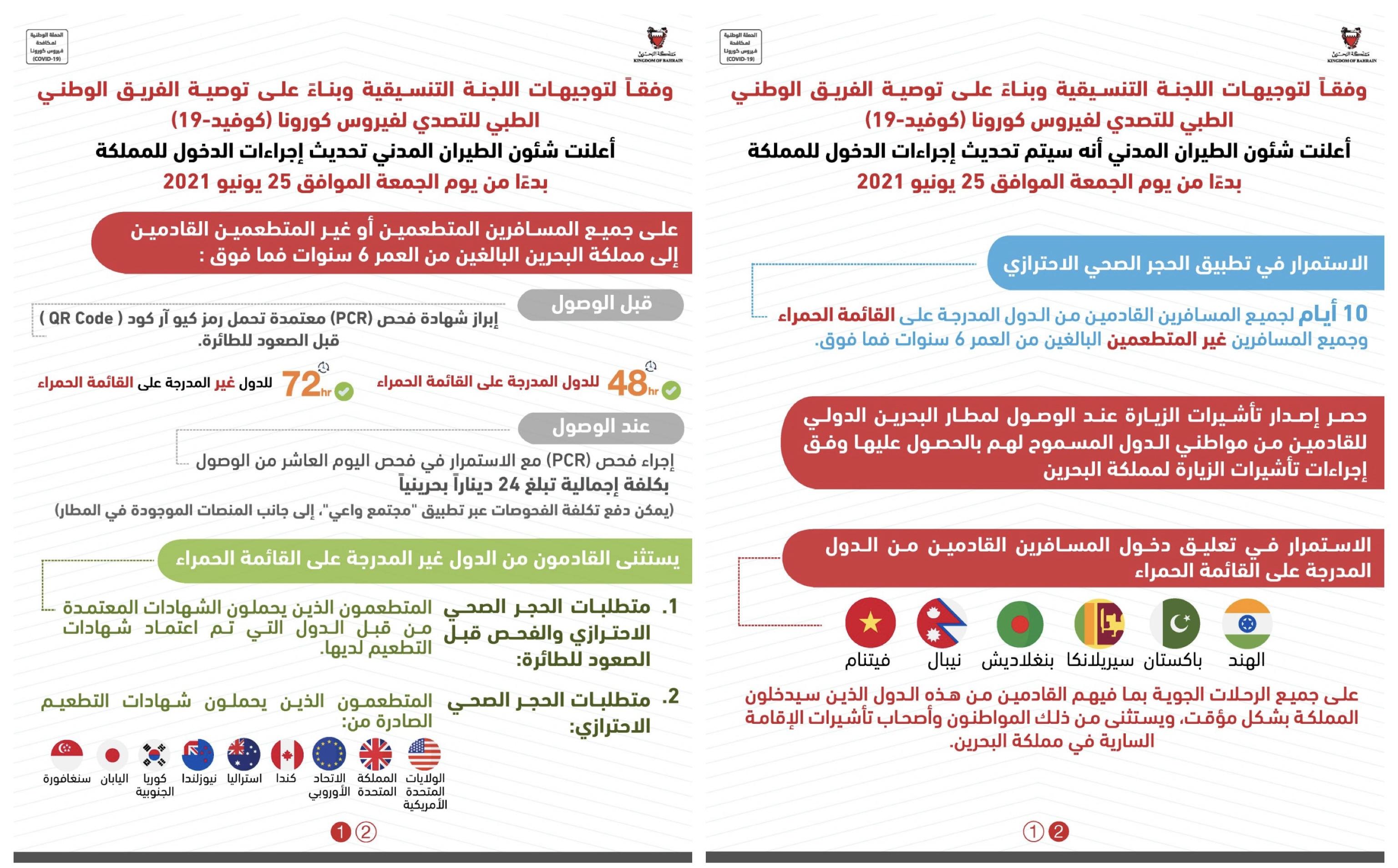 شئون الطيران المدني: تحديث إجراءات الدخول لمملكة البحرين عبر مطار البحرين الدولي بدءًا من يوم الجمعة القادم