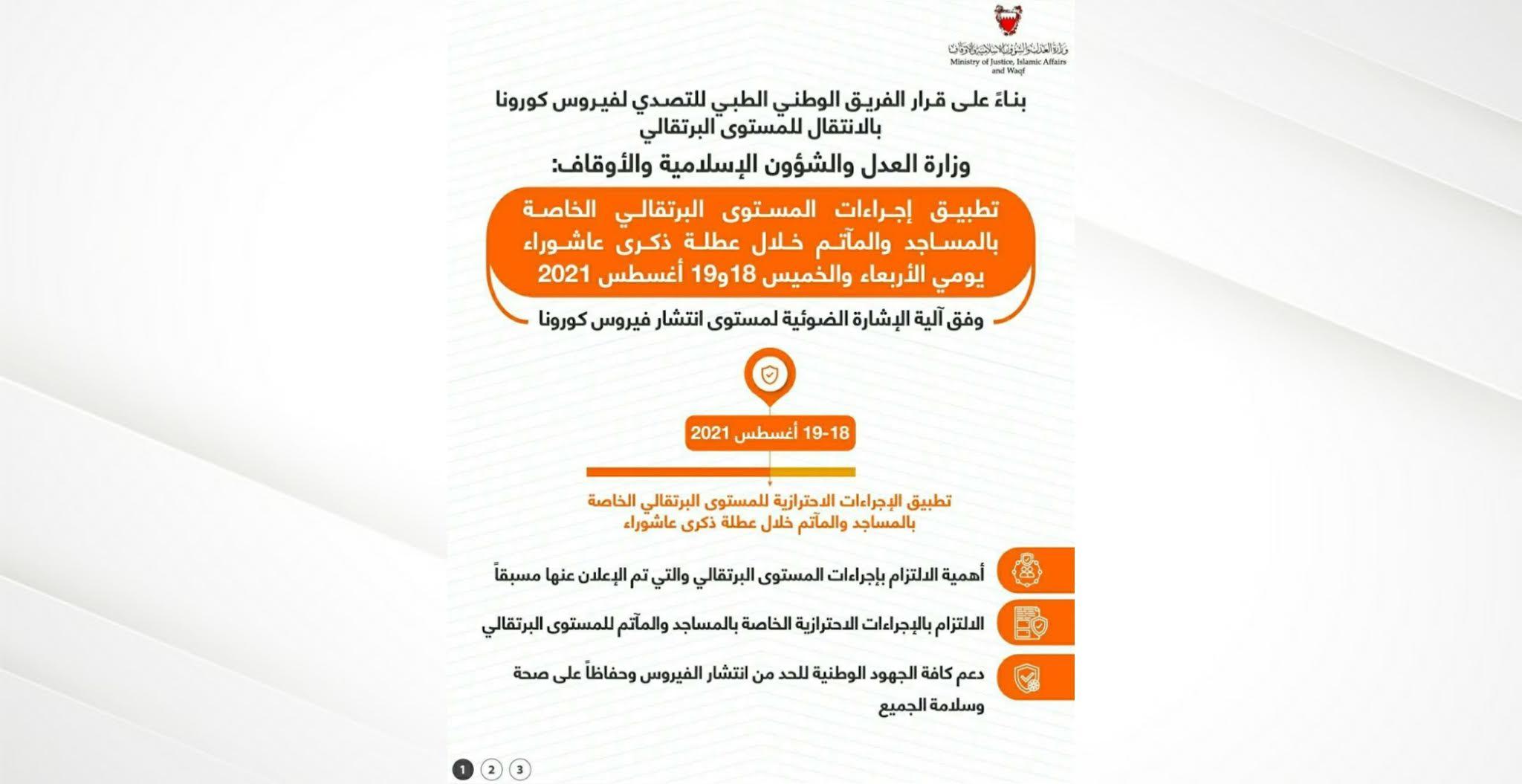 وزارة العدل: تطبيق إجراءات المستوى البرتقالي الخاصة بالمساجد والمآتم خلال عطلة ذكرى عاشوراء يومي الأربعاء والخميس 18و19 أغسطس 2021