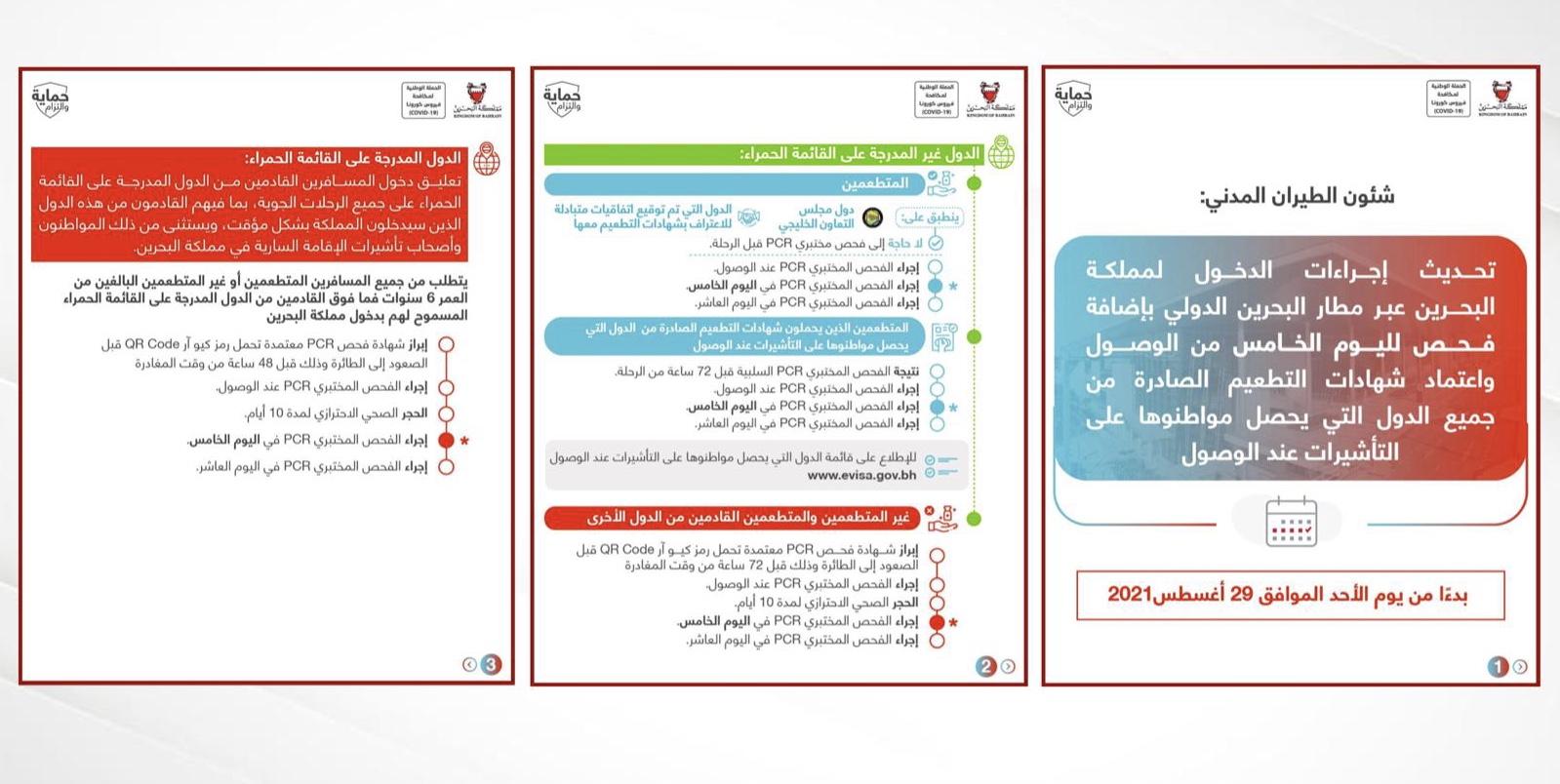 شئون الطيران المدني: تحديث إجراءات الدخول لمملكة البحرين عبر مطار البحرين الدولي