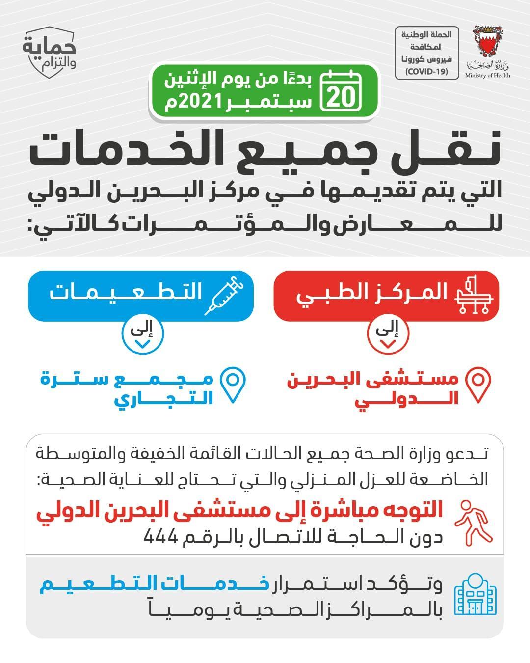 الصحة: نقل جميع الخدمات التي يتم تقديمها في مركز البحرين الدولي للمعارض والمؤتمرات إلى مستشفى البحرين الدولي ومجمع سترة بدءاً من يوم الاثنين 20 سبتمبر 2021م